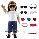 Miunana 5 Muñeca Fashion Accesorios Pelo Horquilla Gafas de sol Tocado Lindo Complementos Disfrazarse para 18 inch American Girl Doll - Selección Aleatoria