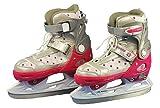 Nijdam Kinder Eiskunstlaufschlittschuhe Kunstlauf Schlittschuhe größenverstellbar, Fuchsia-Silber-Weiß, 29-32, 1014321