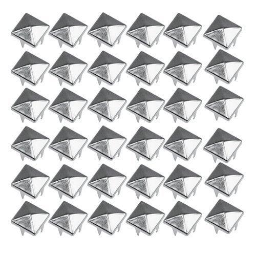 Accessotech 50 BRICOLAJE Pirámide Broches Cuadrados Pua Puntos Tachuelas Cabeza del clavo para los collares de perro Punk Gótico