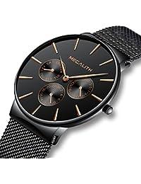 Relojes Hombre Negro Relojes de Hombre Lujo Moda Impermeable Fecha Calendario Diseño Simple Analogicos Cuarzo Relojes de Pulsera de Malla de Acero Inoxidable Deportivo Negocio Casual Delgado