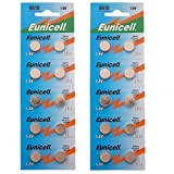 20 x Eunicell AG10 / 189/389 / LR1130 Pila de pilas de botón Baterías alcalinas de larga vida útil