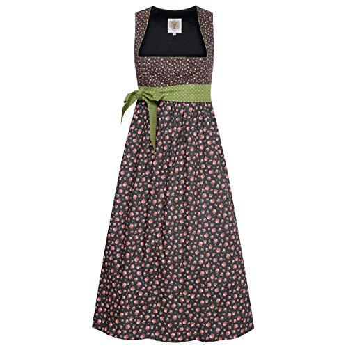 Umstandsdirndl Nina in Schwarz mit Blumen und grüner Schleife