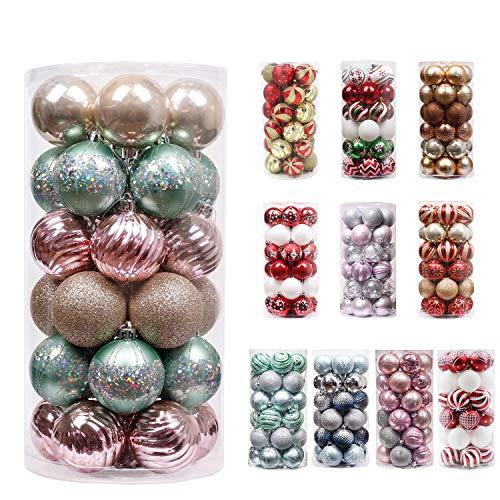 Valery madelyn palline di natale 30 pezzi 6cm, decorazione dell'albero di natale plastica menta verde rosa, addobbi e decorazioni natalizi, regali dei ciondoli e pendenti di natale, christmas ball