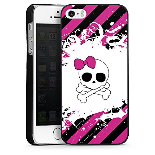 Apple iPhone 5s Housse Étui Protection Coque Princesse punk rock Rose vif Tête de mort CasDur noir