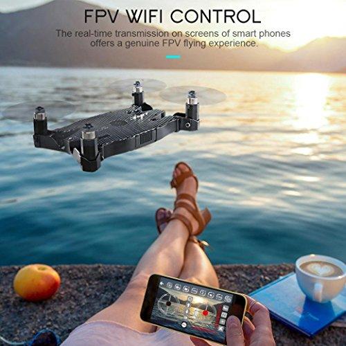 JJRC H49 SOL 0.95cm Ultradünne Auto Faltbare Selfie Drone 720P WIFI FPV mit Beauty Höhenhaltung Modus Kopfloser Modus RC Quadcopter RTF – Schwarz - 2