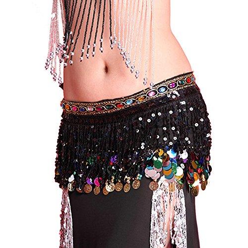 Dance Strass Bh Kostüme (Bauchtanz Hüfte Rock Schal Verpackungs Gurt Sequin Troddel Hipscarf)