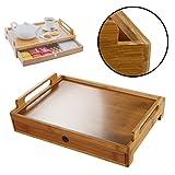 DRULINE Serviertablett mit Schublade Teetablett Holztablett Holz Teebox Shabby Chic Naturfarbene...