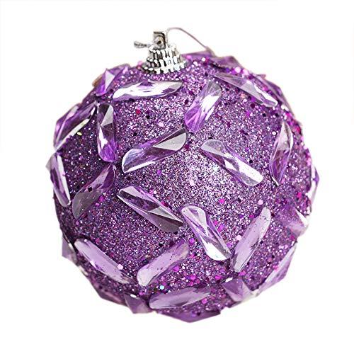 Squarex - pallina decorativa per albero di natale, con strass, 8 cm, decorazione per la casa, per feste e interni, schiuma, purple, stile c
