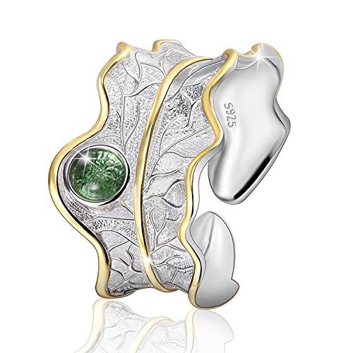 JIANGYUYAN S925 Sterling Silber Damen Ring Blätter Offen Ring Handgemachte Schmuck für Frauen und Mädchen. (Green)
