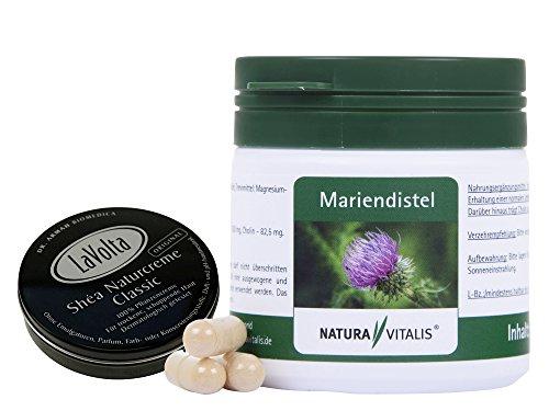 Natura Vitalis Mariendistel + Cholin 90 Kapseln für 3 Monate + Lavolta Naturcreme Classic 8ml