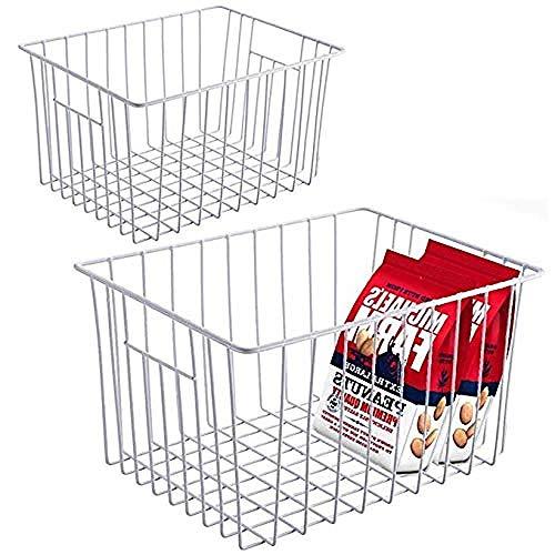 YAOUCFS Kühlschrank Gefrierschrank Speicherorganisator Korb Deep Wire Container Mit Griffen Für Küche Pantry Cabinet Auto Badezimmer - Pearl White Set Von 2 -
