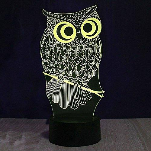 Lampe 3d Illusion Lichter der Nacht, kingcoo verstellbar 7Farben LED Acryl 3d Creative Stereo Touch Switch Visual Atmosphäre Licht Tisch, Geschenk für Weihnachten Modern Eule - 5