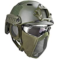 QZY Casco Protector Airsoft Paintball, Cascos Tácticos con Máscara de Malla de Acero Juego CS Juego de 8 Colores,OD