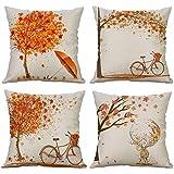 Gspirit 4 Pack otoño Arce Bicicleta Algodón Lino Throw Pillow Case Funda de Almohada para Cojín 45x45 cm