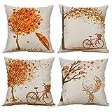 Gspirit federe Autunno Acero Bicicletta 4 Pack Cuscini per divani Decorativo Cotone Biancheria Cuscino copricuscini Divano Caso Federa per Cuscino 45x45 cm