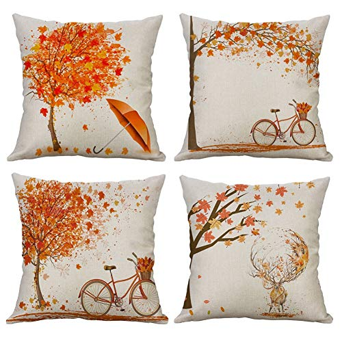 Gspirit 4 Pack otoño Arce Bicicleta Algodón Lino Throw Pillow Case Funda de Almohada para Cojín 45x45...