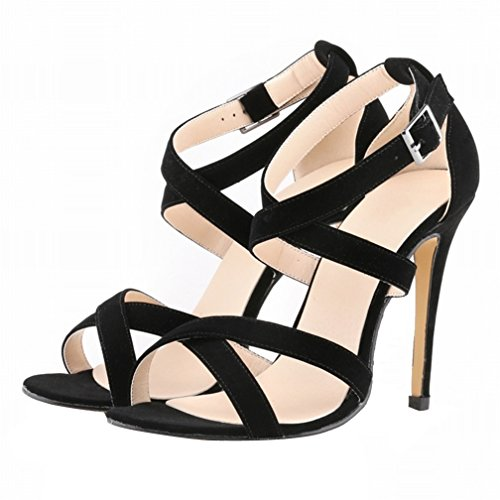 HooH Femmes Daim Hollow Out Peep Toe Boucle Stiletto Escarpins Sandales Noir