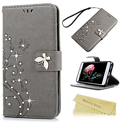 Mavis's Diary P8 Lite 2017 Case ,Huawei P8 Lite Bling Flip Case 2017 Model - Glitter Gems Diamonds Crystal Butterfly Wallet PU Leather Flip Cover [Chic Flower Embossed] Silicone Back Holder Case Magnetic Closure Card Slots & Stand & Wrist Strap - Grey (Not for 2015 Model)