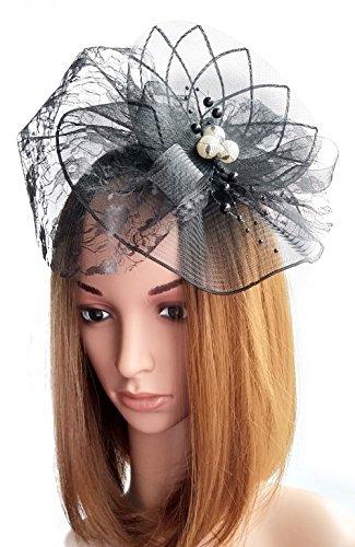 t Haarclip Perlen Schleier für Cocktail Headwear Party Kopfschmuck (Schwarz) (Seine Und Ihre Halloween-kostüme Diy)
