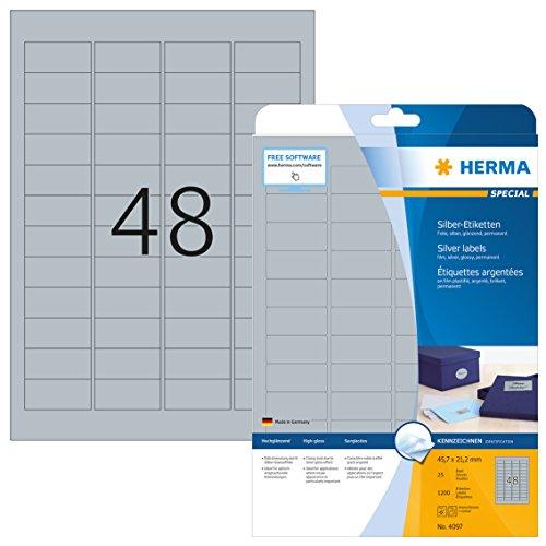 Herma 4097 Wetterfeste Folien-Etiketten silber (45,7 x 21,2 mm) 1.200 Aufkleber, 25 Blatt DIN A4 Klebefolie glänzend, bedruckbar, selbstklebend