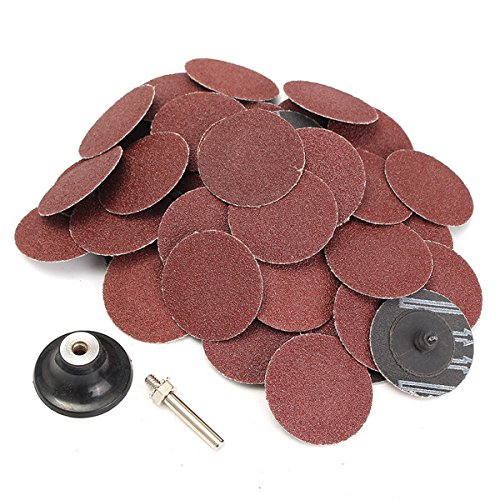 ExcLent 50Pcs 2 Inch 60 Grit Roll Lock Type Sanding Disc With Mandrel -