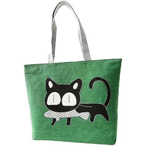 Toraway La bolsa de peces gato lindo del hombro impresión de la historieta de la lona bolsa de mensajero de compras (Verde)