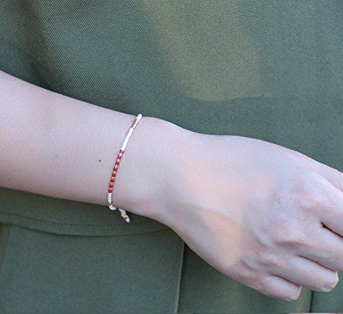 KELITCH Armband MischFarbe Rocailles Perlen Zart Schnur Freundschaftsarmbänder für Mädchen Damen - #14
