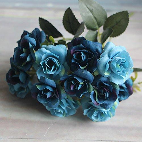 MingXiao Gefälschte Blumen Bouquets Haus Dekor Austin 15 köpfe Herbst Seidenblumen Blau Künstliche Rose Hochzeit Party