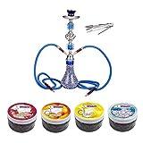 Ectxo 55cm Shisha Hookah Wasserpfeife Set (Blau) mit 2 Schläuchen und 4 X 100gr Shiazo Dampfsteine Steam Stones