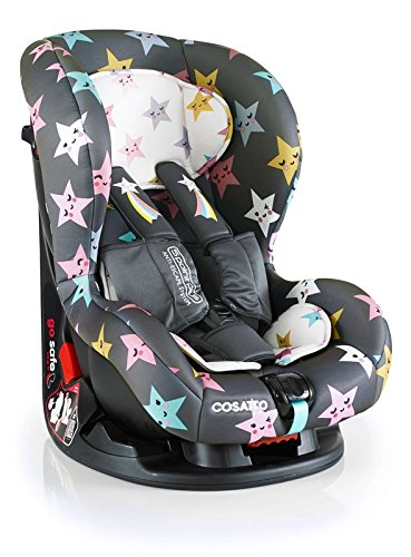 Cosatto Moova 2 Car Seat Group 1, 9-18 kg, Happy Hush Stars Cosatto Moova 2 is suitable from 9 kg-18 kg (9 months - 4 years approximatelyimately); it fits forward-facing with a standard 3-point vehicle seat belt It features the exclusive Five Point Plus Anti-Escape system, great for keeping little wrigglers in place, plus side impact protection for in-car security; the reclining padded seat gives on-board comfort It is easy to clean with removable squidgy padded liner and pop off seat covers-Moova 2 is their padded protector 1
