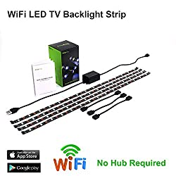 WiFi LED TV Hintergrundbeleuchtung Strip, kompatibel mit Alexa und Google Home, USB Powered (5 V DC), Flexible RGB 5050 Streifen, Farbwechsel, dimmbar LED Strip (neue Version)