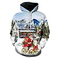 Discount Boutique Mens Womens Christmas Pullover Hooded Sweatshirts 3D Print Long Sleeve Casual Funny Hoodie with Pockets White