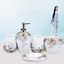 In stile europeo lavare set-bagno idee bagno bagno cinque-resina pezzo portaspazzolini set con vassoio,un