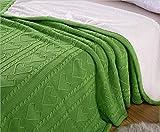 GXK Bella Morbido Gettare Coperta Rovesciabile Gettare Divano Letto Sofa Bed Sherpa Rivestimento in Pile 150X200cm Verde