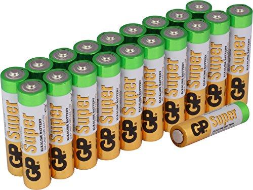Batterien AAA Micro Super Alkaline Vorratspack 20 Stück [Markenprodukt GP Batteries]