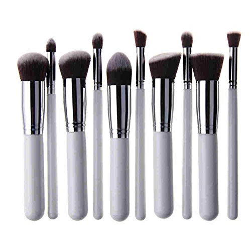 AKAAYUKO 10pcs Makeup Brush set Cosmétique Fondation Beauté Maquillage -White & Silver
