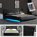 VEGAS Schwarz Doppelbett Polsterbett LED Unterbodenbeleuchtung Bett