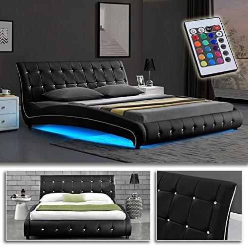 VEGAS Schwarz Doppelbett Polsterbett LED Unterbodenbeleuchtung Bett Lattenrost