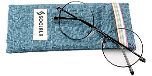 SOOLALA Cool Retro Round Metal Frame Spring Hinged Reading Glasses for men and Women, Black, +1.25D