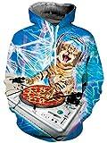 Goodstoworld Bunt 3D Hoodie Jungens Musik Katze Unisex Bunt Smoking Druck Hoodie Pullover Sweatshirt Langarm Fleece Kapuzenjacke Kostüm Top