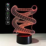 Deerbird® 3D DNA Spiral Visual Optical Illusion Colorful LED Touch Switch Desk Table Lamp Night Light for Christmas Prank Gifts Romantic Holiday Creative Gadget (USB and 3 AA Battery Powered Modes)