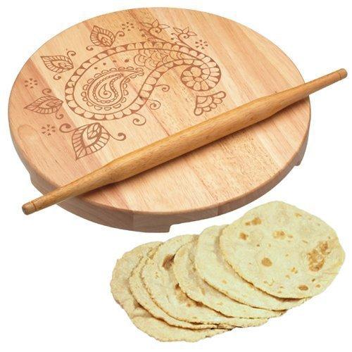Kitchen Craft - Vassoio girevole, con rullo-mattarello, Chapati Roti Puri, in legno, per stendere la pasta; eccellente idea regalo