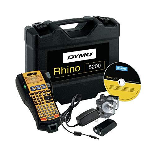 Dymo Rhino 5200Hard Case Kit Drucker für Etiketten–Drucker für Etiketten (schwarz, 100Zeichen, 1,9cm, Code 39, schwarz, gelb, ABC)