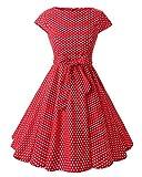 MISSMAO Damen 50s Retro Tupfen Rockabilly Kleid Rundhals 60s Partykleider Faltenrock Cocktailkleider XL Roter Kleiner Weißer Punkt
