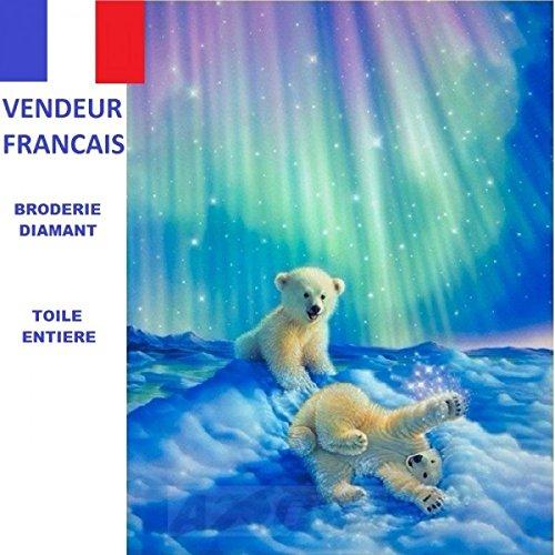 5D Diamond Embroidery Canvas Full Full Kit French Seller Ours Dans la Neige 40 X 50 Cm