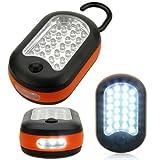 24, 3 LEDs, Taschenlampe mit Magnet & 2 Leuchtmodi, für outdoor/camping, Orange orange