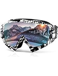 Gafas de esquí Gafas de skate Snow Gafas de moto con protección UV Anti-fog para hombres, mujeres y jóvenes de Waitiee para esquí Snowboard, esquí, patinaje, ciclismo, motocicleta (white)