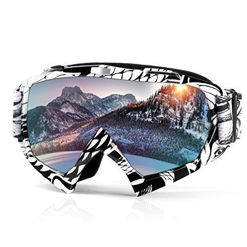 Skibrille Snowboardbrille Motorrad Goggle Motocross Wind Staubschutz Fliegerbrille Schneebrille Wintersport Brille Dirtbike Schutzbrille durch Waitiee mit UV-Schutz Anti-Fog Für Damen Und Herren