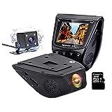 Dual Linse Autokamera Dashcam Car DVR Video Recorder-RESH-FHD 1080P 170° Weitwinkel FHD Vorder-Super Nachtsicht Parkmonitor Weitwinkel Auto DVR Dash Cam Für Fahrzeug mit OBDII, 32 G SD Karte,GPS Track (High-end)