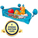 Bath Toy Storage Tidy - 4 Strong Suction Cups - Bathtub Toys Net Holder Organiser - Corner Shower Caddy Bag for Kids and Toddlers - Bathroom Basket for Baby Boys and Girls - Hanging Mesh Hammock